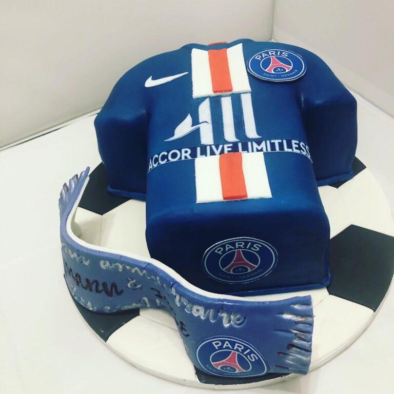Gâteau PSG maillot  : 50 ans Manu et Jose